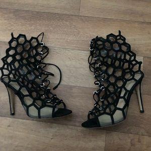 Gianvito Rossi black suede honeycomb booties